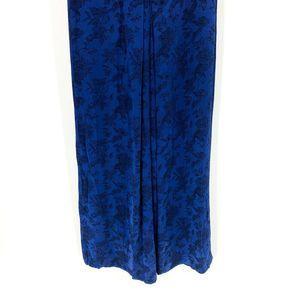 ZARA Pants - Zara Blue Floral Jacquard Wide Leg Trousers